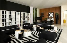 cool black and white house interior with striped area rug accent