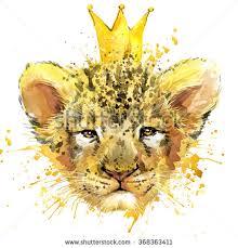 watercolor lion illustration fashion print poster stock