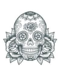 sugar skull black and white temporary