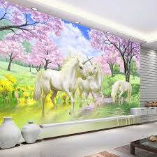 3d custom photo wallpaper unicorn sakura wallpaper fantasy wall