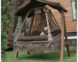 Swing Bed With Canopy Hammock Stand Etsy