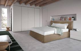 modern style bed with padded headboard and bed frame idfdesign