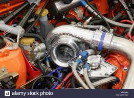 subaru impreza turbo engine high mounted turbocharger on the engine of a modified and tuned