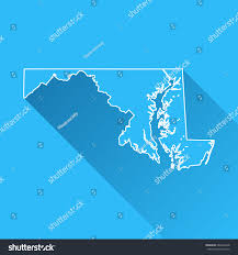 maryland map vector maryland map shadow white outline stock vector 662642428