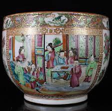 mandarin porcelain 19th c famille porcelain fish bowl planter pot