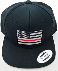 Black Flag Hat Thin Red Line Snap Back Hat