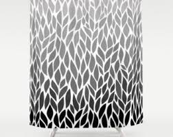 Black Grey And White Shower Curtain Grey Shower Curtain Etsy