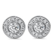 diamond earring jackets 1 50 carat diamond studs earring jackets halo vintage antique