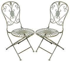 Metal Bistro Chairs Folding Metal Bistro Chair With Scrolling Heart U0026 Peacock Tail