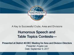 toastmasters table topics contest questions successful humorous speech table topics contests district 46