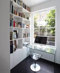 grey and white office home office contemporary with bookshelf