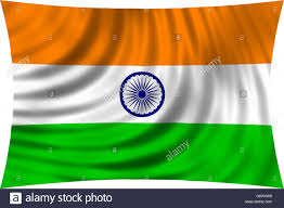 Green White Orange Flag Flag Of India Waving In Wind Isolated On White Background Indian