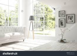 White Interior Designs White Room Sofa Scandinavian Interior Design Stock Illustration