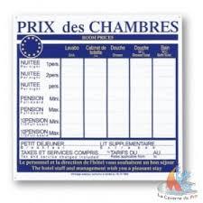 prix chambre hotel panneau d affichage tarif chambres 49 5x39 5cm lacavernedupro fr