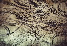 skull and dragons tattoo sketch handmade design over vintage