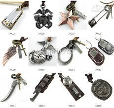 mens necklace pendant images Punk vintage mens charm choker genuine leather chain pendant jpg