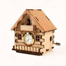Cuckoo Clock Kit Orgel Clock Cuckoo House Model Kit Music Box Wooden Unassembled