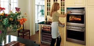 stylish built in compact oven black color with red line electric