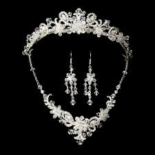 wedding tiara silver bridal jewelry set and tiara of swarovski wedding