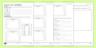 and juliet act ii activity sheet worksheet