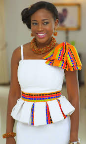 ghana chitenge dresses kente on white with statement jewerly ready for that traditional