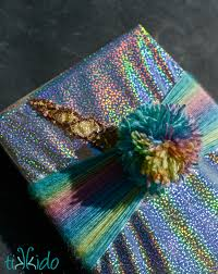 holographic gift wrap unicorn gift wrapping tutorial tikkido
