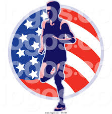 Flag Circle Royalty Free Vector Of A Runner And American Flag Circle Logo By