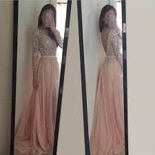 custom long sleeves prom dress blush pink prom dresses lace prom
