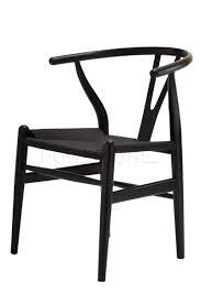 replica hans wegner wishbone chair black with black cord seat for