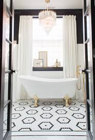 Small Bathroom With Black Hexagon by Artistic Tile I Riverside Drive Mosaic In Black And White Hexagon
