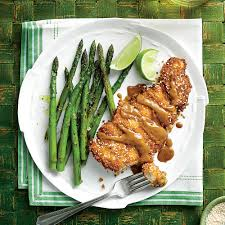 sesame chicken thigh paillard with peanut sauce recipe myrecipes