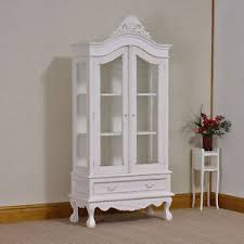 Armoire With Glass Doors French Shabby Chic Glass 2 Door White Distressed Armoire Display