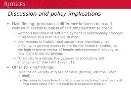 Formal Credit Policy Self Employment In Household Enterprises And Access To Credit