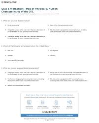 Map Of United States Quiz by Quiz U0026 Worksheet Map Of Physical U0026 Human Characteristics Of The