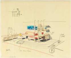 drawing sketch of a room interior for uris hotels ca 1955