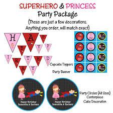 princess and superhero birthday party invitations printable or