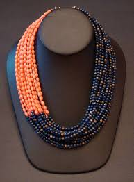 beaded coral necklace images Asymmetrical lapis lazuli and pink coral necklace accessorize jpg