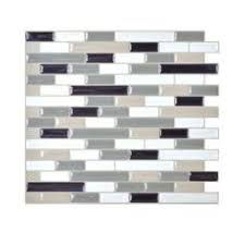 Smart Tiles Bellagio Sabbia  In W X  In H Peel And - Peel and stick backsplash home depot