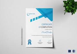certificate of completion free template word certificate of completion template 31 free word pdf psd eps