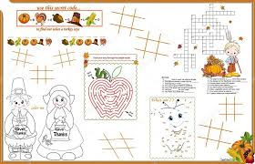 placemat thanksgiving printable activity sheet 2 stock vector