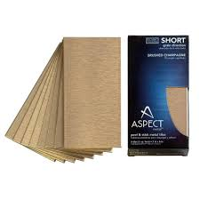 aspect short grain 3 in x 6 in metal decorative tile backsplash