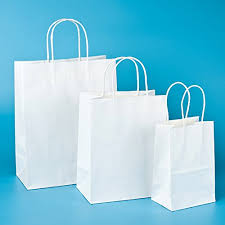 white gift bags halulu 5x3x8 8x4x10 10x5x13 inches 25pc each size white kraft