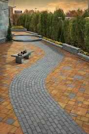 cambridge pavers grey brick stone path set in contrasting patio