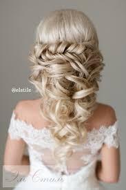 wedding haur styles braided half up half wedding hairstyles deer pearl flowers