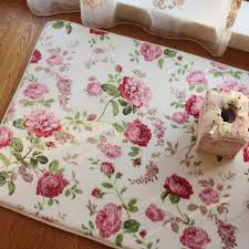 romantic floral room floor mats sweet rose print carpets for