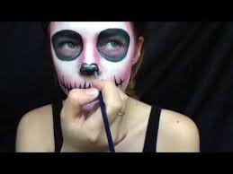 how to simple pink skull makeup tutorial youtube