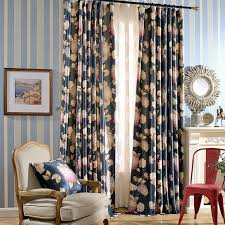 Country Curtains For Living Room Curtains Dark Blue Floral Print Polyester Room Darkening