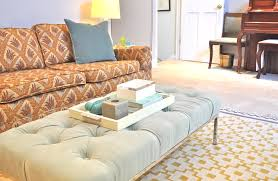 furniture tufted ottoman coffee table in retro living room with
