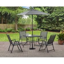 folding patio table with umbrella hole gray patio furniture 6 pieces albany lane folding dining set 2