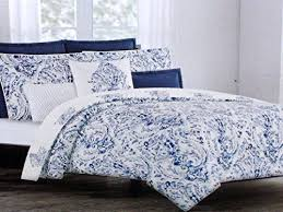 Blue And White Comforter Nicole Miller Luxurious Designer Bedding 3 Piece Cotton Duvet Cover Se